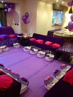 is a simple purple girls spa party, purple spa parties for kids and teenagers are great, purple is an alternative colour to the usual pink spa parties and looks great when accessorised with pink. in 2016 this is our most popular party theme along. Sleepover Birthday Parties, Girl Sleepover, Birthday Party For Teens, Birthday Party Themes, Girl Birthday, Teen Parties, Birthday Ideas, 10th Birthday, Paris Birthday