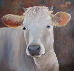 Animal Canvas Oil Painting White Cow Elvira Large by ChatterBoxArt