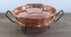 Antique French Copper Cookware | Large Antique French Copper Cookware Tourtiere Casserole Tart Meat Pan ...