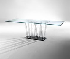 Luxury and Elegant Clear Glass Table Design for Home Interior Furniture, Bamboo Design by Reflex Angelo 5 Dining Table Design, Modern Dining Table, Glass Furniture, Home Furniture, Luxury Interior, Interior Design, Bamboo Design, Nesting Tables, Mid Century Furniture