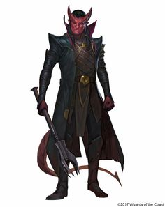 Tiefling Male Fighter Rogue Cleric Warlock Spellcaster Noble Light Mace