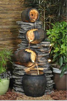Rocks+Gardens+Water+Fountain   Pots On Rock Fountain Water Feature - GardenSite.co.uk