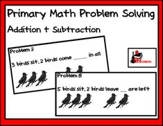 These 12 simple problem solvers help your non-readers and beginning readers begin to problem solving, using pictures to add and subtract. Use the provided sheet with the cards, or let students glue them into their MathJournals Great, easy math center for your kindergarten and first grade students. Math Story Problems, Word Problems, Math Addition, Addition And Subtraction, Simple Math, Easy Math, Life Skills Activities, Math Problem Solving, Classroom Freebies