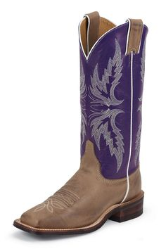 Justin Bent Rail Purple and Tan Vintage Cowgirl Boots