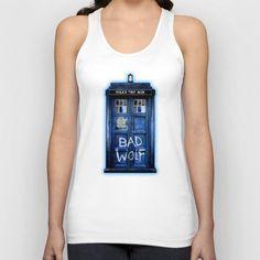 Phone box doctor with Bad wolf graffiti Unisex Tank top @Society6 #tanktop #tshirt #tee #clothing #tardis #doctorwho #policecallbox #bluephonebooth #phonebooth #doctorwho #tardisbadwolf #britishflag #unionjack