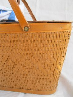 Vintage Basket/ Wicker/ Picnic/ Redmon/ 50's/ MidCentury/ Woven/ Wood from Tessiemay. $35.00, via Etsy. Ours was just like this.