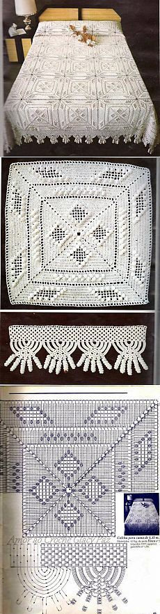 Crochet: Very Beautiful Patterns For Cur - Qoster Basic Crochet Stitches, Crochet Chart, Thread Crochet, Filet Crochet, Crochet Motif, Crochet Doilies, Crochet Blocks, Crochet Squares, Crochet Blanket Patterns
