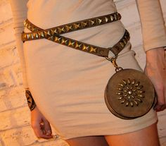 SALE Double Wrap Belt Studded Hip Bag Detachable Pyramid Studs in Antique Brass Available in Black Also