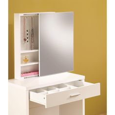 Sleek and simply yet highly functional, this vanity set contributes both fashion and practicality to your bedroom or changing area. Hidden storage in the mirror includes shelves and hooks, while a partitioned drawer in the front of the piece offers s