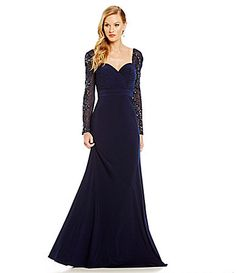 93cc57acb10 Terani Couture Illusion Beaded Long Sleeve Gown