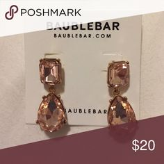 *HOST PICK* Baublebar Pink Crystal Earrings Brand new light pink crystal dangle earrings (one pair). Selling items from my closet to raise $$$ for Children's Miracle Network Hospitals. Jewelry Earrings