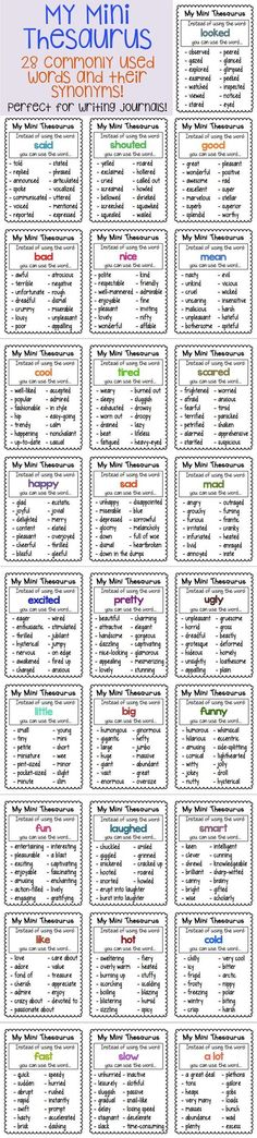 Synonym Charts 28 Mini Thesaurus Charts perfect for writing journals! Comes mini and standard Mini Thesaurus Charts perfect for writing journals! Comes mini and standard size! Teaching Writing, Writing Help, Writing Skills, Writing Tips, Writing Prompts, Writing Journals, Essay Writing, Kids Writing, Creative Writing For Kids