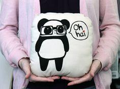 Oh Hai Nerdy Panda Pillow Plush by panduhmonium on Etsy