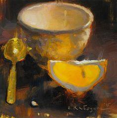 "Daily Paintworks - ""Evening Cup and Orange"" - Original Fine Art for Sale - © Elena Katsyura"