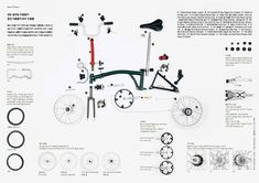 Brompton folding bike showing the variety of components