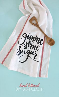 "DIY Dish Cloth Gift Idea - free svg and silhouette studio cut files - makes adorable ""gimme some sugar"" baking-themed gifts"