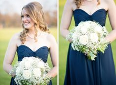 Navy Blue Bridesmaid Dress // White Rose + Baby's Breath Bouquet // Alison Dunn Photography