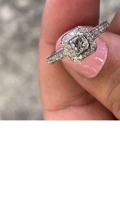 Cushion Cut Diamond Halo Engagement Ring Eternity Ring Diamond, Diamond Solitaire Rings, Halo Diamond Engagement Ring, Engagement Ring Styles, Designer Engagement Rings, Wedding Ring Bands, Wedding Jewelry, Cushion Cut Diamonds, Fashion Rings