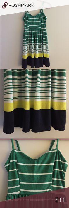 Green striped fit flare dress yellow white size XS Green striped fit flare dress yellow white size XS Xhilaration Dresses