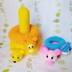 Crochet stacking toy pooh collectionstuffed baby by EarnCrochet