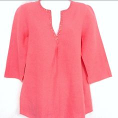 Eileen Fisher Coral Tunic Eileen Fisher beautiful Irish linen 3/4 sleeve pullover top w sequins at neckline Size: Small Fabric: 100% linen machine wash cold/tumble dry Eileen Fisher Tops Tunics