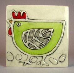 Handmade ceramic tile 4x4 green hen by ceramiquecote on Etsy, $20.00 Etsy