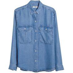 Mango Soft Denim Shirt, Open Blue (41 CAD) ❤ liked on Polyvore featuring tops, denim button shirt, button shirts, button collar shirt, collared shirt and long sleeve denim shirt