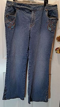 Womens US Polo Association Distressed Embroidered Blue Jeans Plus Size 22W…