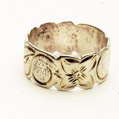 Vintage Estate Sterling Silver Engraved Floral Wedding Band Ring, Size 5 (V283). $33.00, via Etsy.