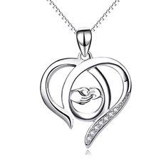 Perfekten Geschenk für Mama, Sterling Silber Mutter und Kind Hände Herz  Anhänger Halskette, 45,7 cm 3a3d71c060