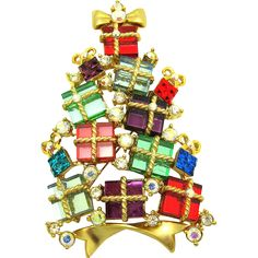 Vintage AVON 2007 Fourth Annual Mirror Glass Presents & Rhinestone Christmas Tree Brooch