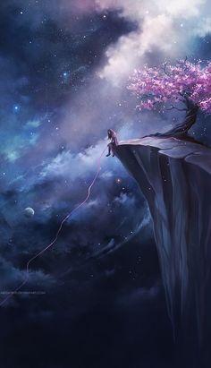 .Anime...Sakura...Cherryblossom...Sky...Cloud...Girl
