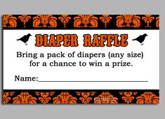 Halloween Diaper Raffle Ticket Printable  by ThatPartyChick, $8.00