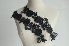 Black Lace Appliques Venice Lace Flower Collars by Lacebeauty