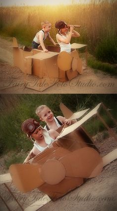 Big and Little Brother Vintage Style Photo Session #Siblings #9 Year Old and 4 Year Old Boy Pilot Cardboard Box Airplane Portrait Poses | Photo Idea | Photography | Cute Kid Pic | Baby Pics | Posing Ideas | Kids | Children | Child | ~Bountiful Utah Photographer country farm