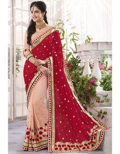 Beautiful Blush Peach and Red #Saree