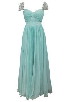 Teal Chiffon Prom Dress with Silver Jewels from Elliot Claire London