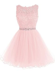 Tideclothes Short Beaded Prom Dress Tulle Applique Homecoming Dress Pink US2