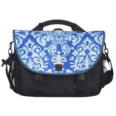 Blue and white Nouvaeu damask print laptop bag