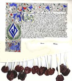 A description of adapting a historical grant of arms to a modern recreation. Illuminated Letters, Illuminated Manuscript, Everything Is Illuminated, Calligraphy Tutorial, Scribe, Science Art, Book Binding, Writing Instruments, Book Art