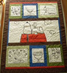A baby quilt from a shower curtain.  It was 100% and a bit heavier fabric than quilting fabric.   Machine quilted.  #Snoopy #baby #quilt