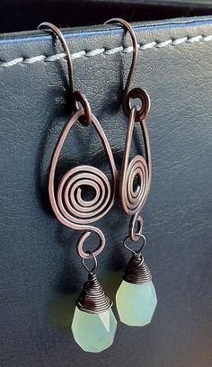 Green drops on spirals | Flickr - Photo Sharing! Earrings by Aniko sandor