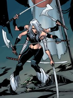 Works for the villain Mojo (Longshot's archenemy) and is herself the archenemy of Psylocke. Marvel Comic Character, Marvel Characters, Female Characters, Marvel Villains, X Men, Comic Books Art, Comic Art, Comic Pics, Marvel Universe