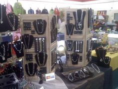 One of our jewelry displays at a craft show using shutters.