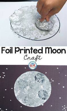 I have a space-obsessed kid in my house so we love to do space crafts around here and my son was very excited to do this moon craft! We made it extra fun and experimented with a different way to paint by making it foil-printed. This craft is great for p Daycare Crafts, Fun Crafts For Kids, Creative Crafts, Preschool Crafts, Projects For Kids, Art For Kids, Craft Projects, Preschool Kindergarten, Craft Ideas