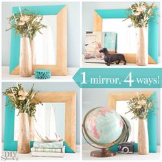 Wood + turquoise mirror update. One mirror, four ways at diyshowoff.com