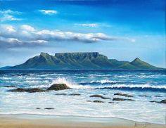 Purchase artwork Table Mountain - Oil Painting by South African Artist Adrian van Staden London Skyline Tattoo, Table Mountain Cape Town, African Artwork, Beginner Art, South African Artists, Mountain Paintings, Cool Art Drawings, Seascape Paintings, Beach Scenes