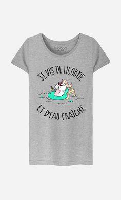 T-Shirt Gris Femme Je Vis De Licorne et d'Eau Fraiche en partenariat avec…