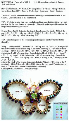 free tatting butterfly pattern (I would love to remember how to do tatting! Beaded Crafts, Wire Crafts, Jewelry Crafts, Needle Tatting, Tatting Lace, Jewelry Making Tutorials, Beading Tutorials, Tatting Patterns, Beading Patterns