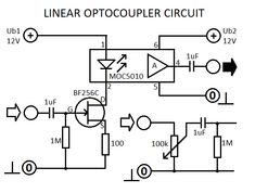 Linear  circuit is an electronic device designed to transfer electrical signals by light across an electrical isolation barrier between its input and output. Electronic Circuit Design, Electronic Engineering, Circuit Drawing, Circuit Diagram, Led Light Strips, Electronic Devices, Arduino, How To Plan, Computers